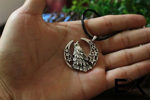 ENXICO Wolf Head and Criscent Moon Amulet Pendant Necklace ? Grey Color ? Animal Spirit Totem Jewelry