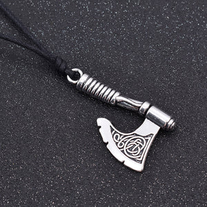 ENXICO Viking Battle Axe Pendant Necklace with Celtic Knot Pattern on Axe Head ? Nordic Scandinavian Viking Jewelry