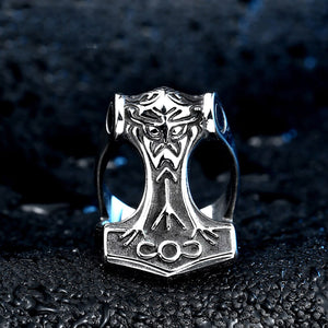 GUNGNEER 2 Pcs Stainless Steel Thor Hammer Fenrir Wolf Valknut Necklace with Ring Jewelry Set