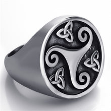 Load image into Gallery viewer, ENXICO Triskele Ring with Triquetra The Trinity Celtic Knot Pattern ? Silver Color ? 316L Stainless Steel ? Irish Celtic Jewelry (10)