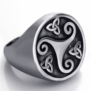ENXICO Triskele Ring with Triquetra The Trinity Celtic Knot Pattern ? Silver Color ? 316L Stainless Steel ? Irish Celtic Jewelry (10)