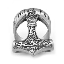 Load image into Gallery viewer, ENXICO Runic Thor's Hammer Mjolnir Ring ? 316L Stainless Steel ? Norse Scandinavian Viking Jewelry
