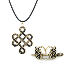 Load image into Gallery viewer, GUNGNEER Celtic Irish Knot Viking Runes Hair Pin Brooch Stick Pendant Necklace Jewelry Set