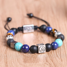 Load image into Gallery viewer, HoliStone Adjustable 7 Chakra Stone Bead with OM Mantra/Lion Head and Tree of Life Bracelet ? Anxiety Stress Relief Yoga Meditation Energy Balancing Lucky Charm Bracelet for Women and Men