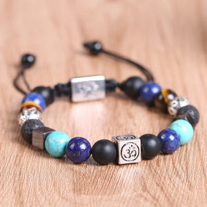 HoliStone Adjustable 7 Chakra Stone Bead with OM Mantra/Lion Head and Tree of Life Bracelet ? Anxiety Stress Relief Yoga Meditation Energy Balancing Lucky Charm Bracelet for Women and Men
