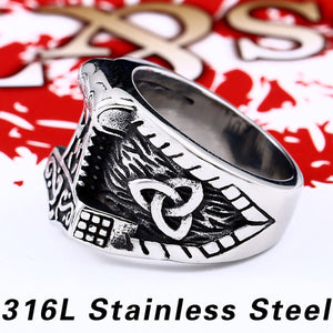 GUNGNEER 2Pcs Mjolnir Thor Hammer Ring Amulet Stainless Steel Jewelry Gift for Men Women