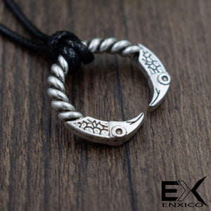 ENXICO Odin's Raven Huginn and Muninn Ring Amulet Pedant Necklace ? Silver Color ? Norse Scandinavian Viking Jewelry