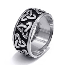 Load image into Gallery viewer, GUNGNEER Celtic Irish Triquetra Pendant Necklace Ring Stainless Steel Jewelry Set Men Women