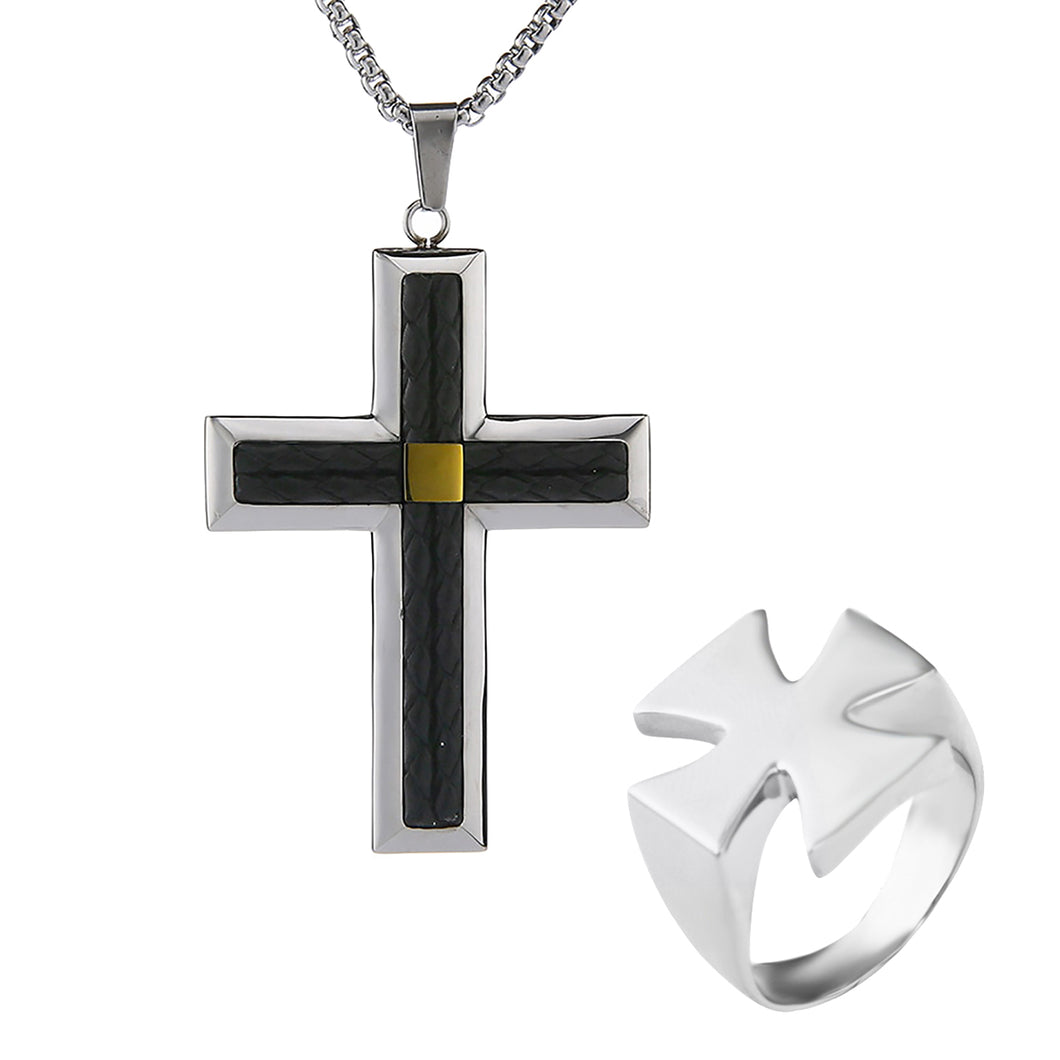 GUNGNEER Stainless Steel Knight Templar Crusader Cross Pendant Necklace with Ring Jewelry Set