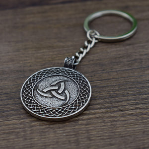 GUNGNEER Celtic Knot Symbol Strength Pendant Necklace Triquetra Key Chain Jewelry Set Men Women