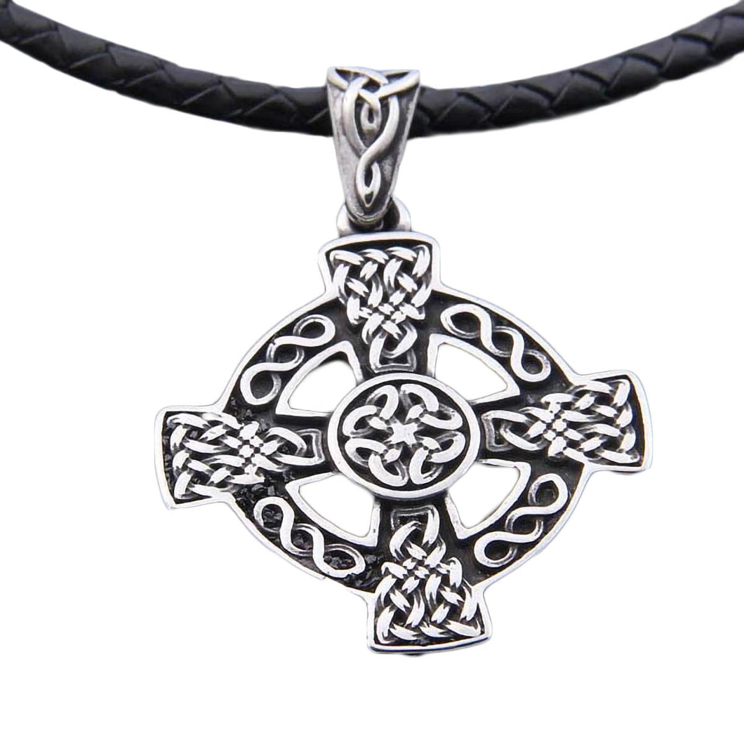 GUNGNEER Celtic Knot Trinity Cross Pendant Necklace Stainless Steel Jewelry Wheat Chain