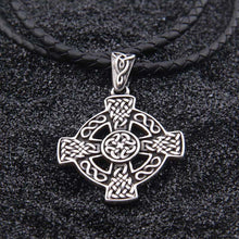 Load image into Gallery viewer, GUNGNEER Celtic Knot Trinity Cross Pendant Necklace Stainless Steel Jewelry Wheat Chain