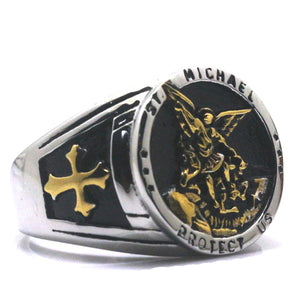 GUNGNEER Cross St Michael Protect Us Ring Many Sizes Stainless Steel Jewelry For Men