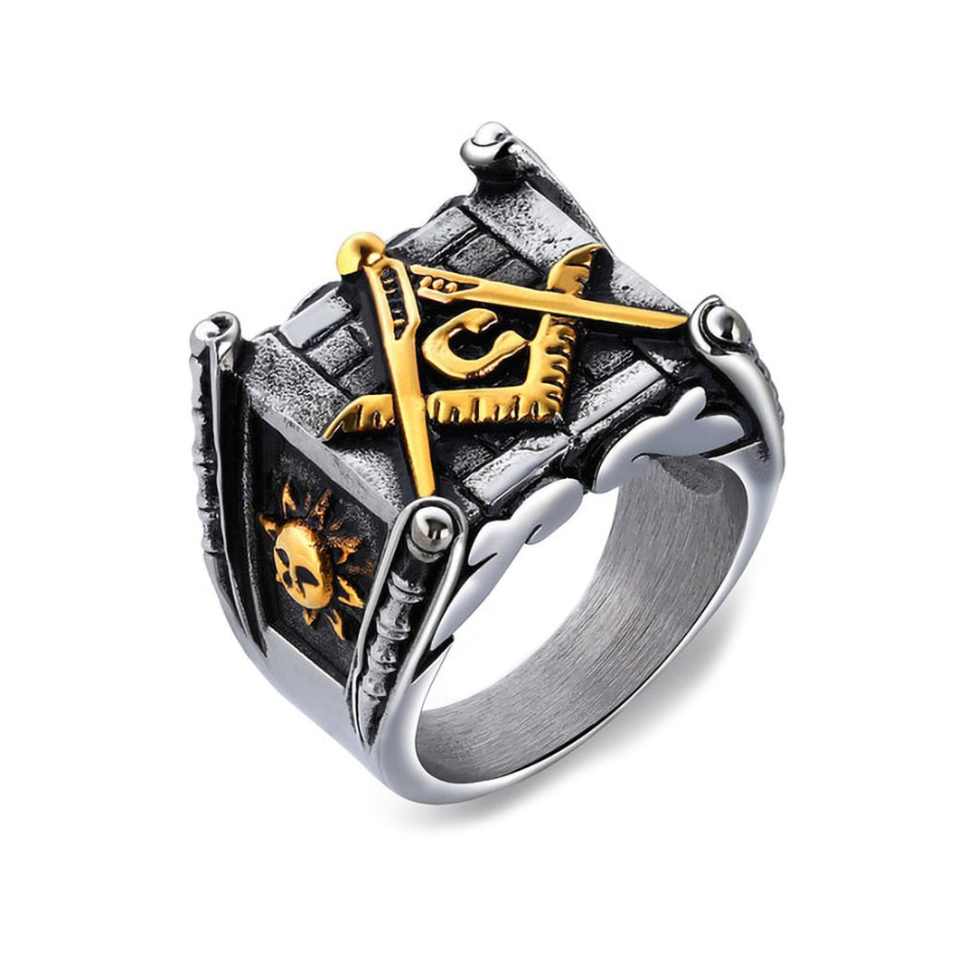 GUNGNEER Masonic Ring Square Face Vintage Style With Masonic Symbol Ring Accessory For Men