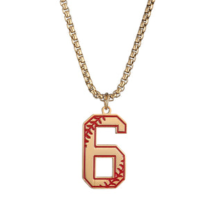 GUNGNEER Baseball Number Necklace Stainless Steel Pendant Sport Jewelry For Men Women