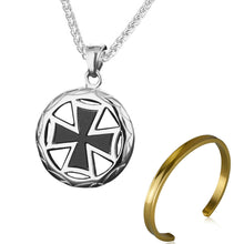 Load image into Gallery viewer, GUNGNEER Templar Knights Cross Necklace Stainless Steel Wheat Chain Bracelet Jewelry Set