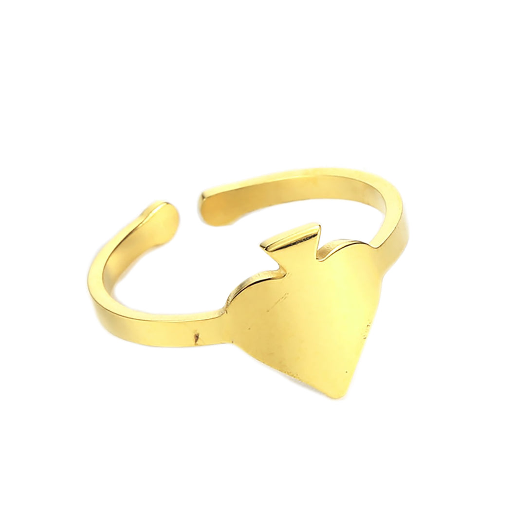 GUNGNEER Stainless Steel Simple Spade Resizable Ring Casino Gambler Jewelry Men Women
