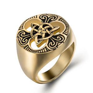 GUNGNEER Irish Celtic Knot Triquetra Stainless Steel Ring Amulet Jewelry