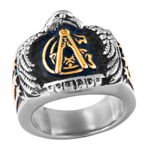 GUNGNEER Men's Freemason Ring Stainless Steel Biker Mason Signet Jewelry