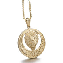Load image into Gallery viewer, GUNGNEER Celtic Knot Lion Stainless Steel Trinity Pendant Necklace Jewelry