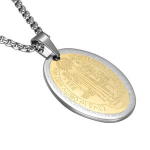 GUNGNEER Saint Benedict Medal Pendant Necklace with Ring Stainless Steel Jewelry Set Men Women