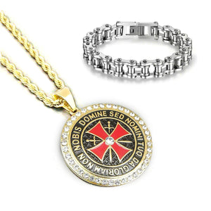 GUNGNEER Stainless Steel Red Knights Templar Cross Pendant Necklace with Bracelet Jewelry Set