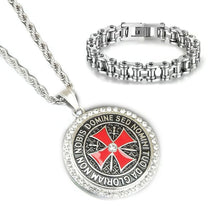 Load image into Gallery viewer, GUNGNEER Stainless Steel Red Knights Templar Cross Pendant Necklace with Bracelet Jewelry Set