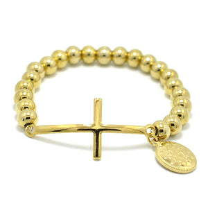 GUNGNEER Stainless Steel Religion Virgin Mary Rosary Cross Beaded Bracelets Miraculous Jewelry
