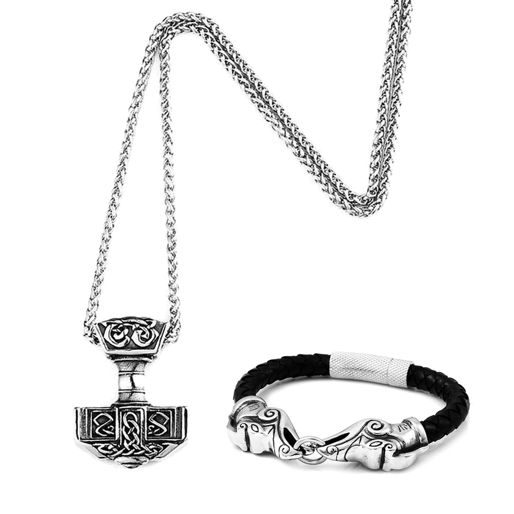 GUNGNEER Stainless Steel Viking Nordic Thor Hammer Pendant Necklace with Bracelet Jewelry Set