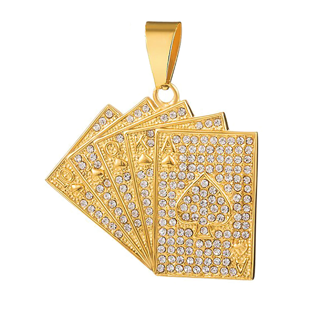 GUNGNEER Punk Iced Out Stainless Steel Straight Flush Poker Card Lucky Pendant Necklace Jewelry