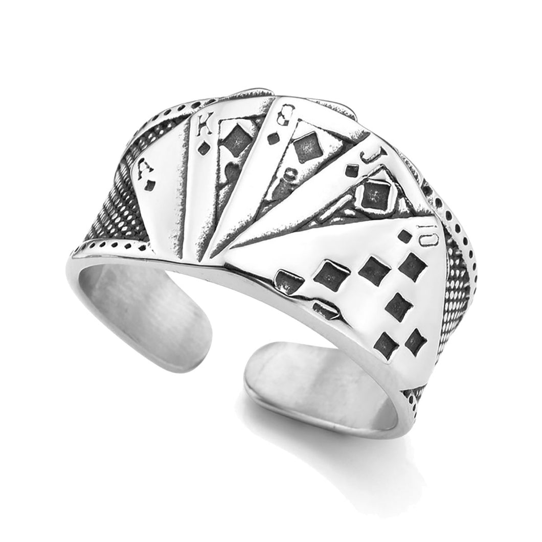 GUNGNEER Vintage Silvertone Stainless Steel Straight Flush Poker Card Lucky Ring Jewelry Men
