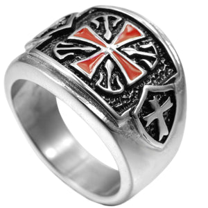GUNGNEER Knight Templar Red Stainless Steel Cross Ring with Beaded Bracelet Jewelry Set