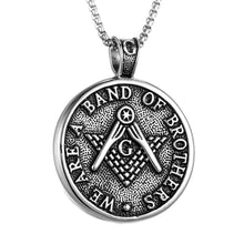 Load image into Gallery viewer, GUNGNEER Vintage Masonic Pendant Necklace Stainless Steel Freemasonry Accessories For Men
