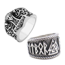 Load image into Gallery viewer, GUNGNEER 2 Pcs Stainless Steel Norse Viking Mjolnir Thor Hammer Valknut Runes Ring Jewelry Set