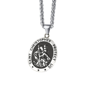 GUNGNEER St Christopher Necklace Protect Us Prayer Stainless Steel Jewelry For Men Women