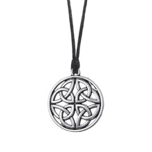 Load image into Gallery viewer, GUNGNEER Celtic Irish Knot Round Geometric Trinity Pendant Necklace Stainless Steel Jewelry