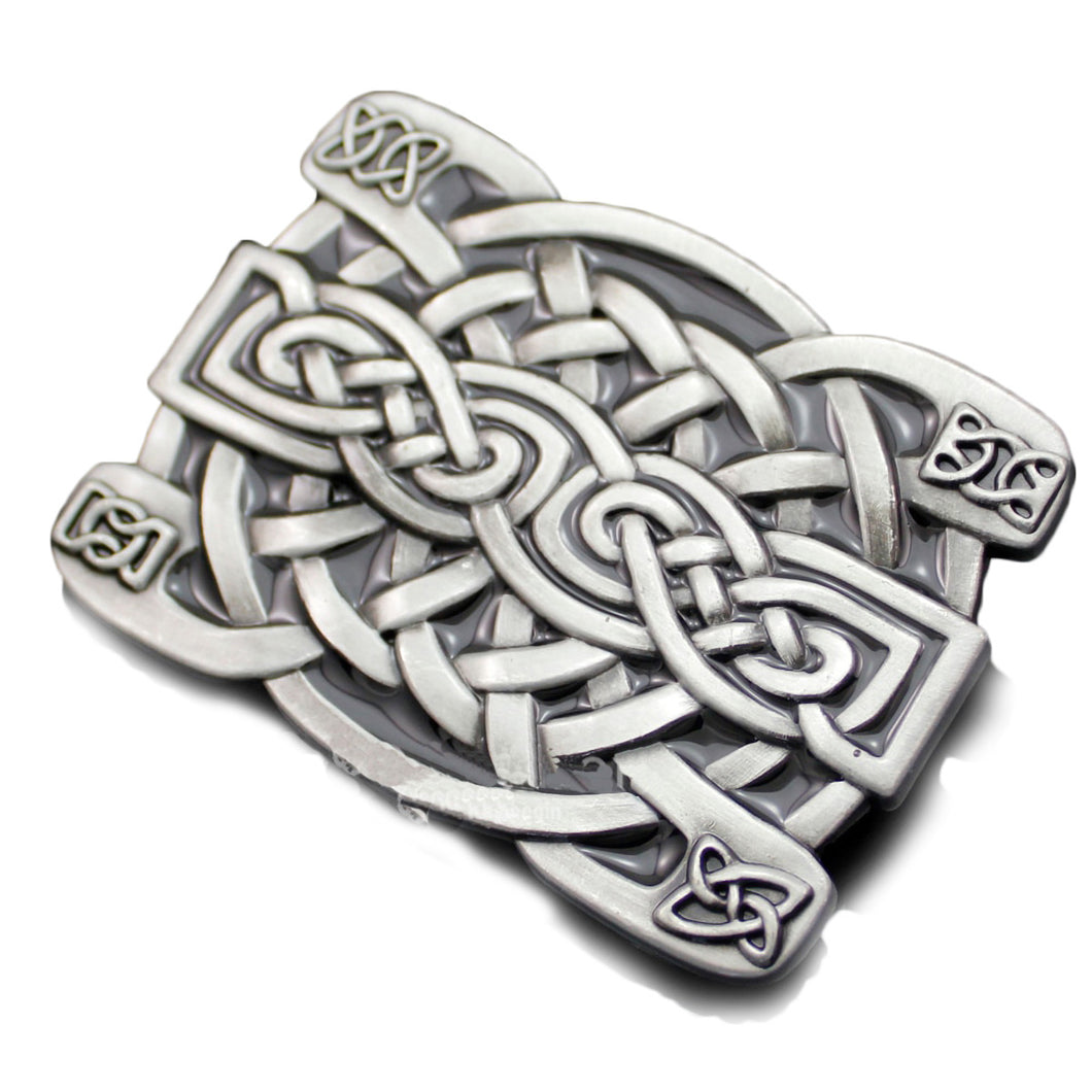 GUNGNEER Celtic Knot Irish Cross Trinity Silver Stainless Steel Belt Buckle Jewelry Accessories