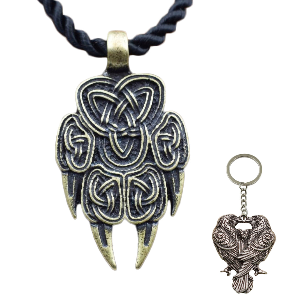 GUNGNEER Celtic Knot Wolf Paw Pendant Necklace Viking Raven Key Chain Jewelry Set Men Women