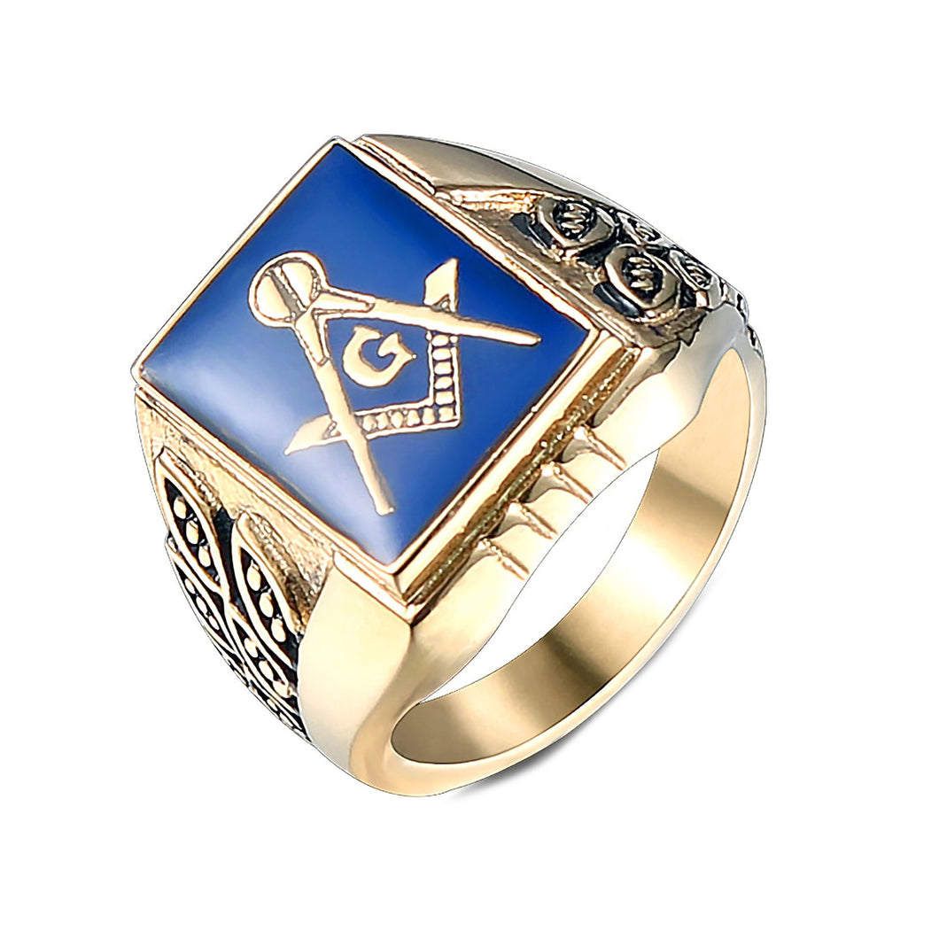 GUNGNEER Mens Blue Lodge Masonic Ring Gold Plated Antique Freemason Jewelry For Men
