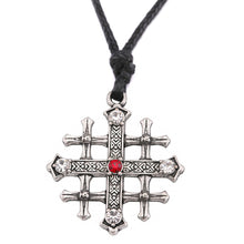 Load image into Gallery viewer, GUNGNEER Jerusalem Cross Stainless Steel Red Crystal Pendant Necklace with Bracelet Jewelry Set