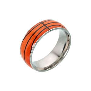 GUNGNEER Multicolor Basketball Ring Stainless Steel Sports Ring Jewelry For Men Boys