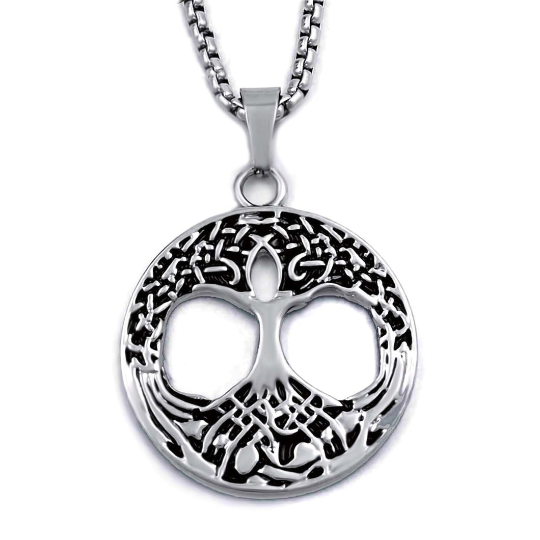 GUNGNEER Irish Celtic =Tree of Life Stainless steel Trinity Pendant Necklace Jewelry Men Women