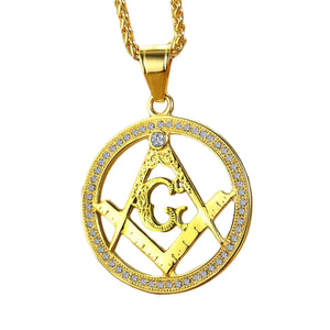 GUNGNEER Stainless Steel Freemason Pendant Necklace Biker Accessory For Men