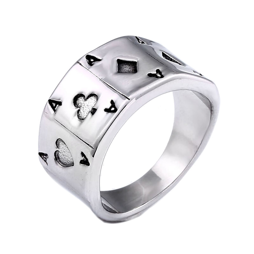GUNGNEER Punk Rock Style Stainless Steel Men Ace of Spade Poker Ring Jewelry Accessories