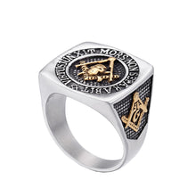 Load image into Gallery viewer, GUNGNEER Square Skull Masonic Ring Multi-size Stainless Steel Biker Ring For Men