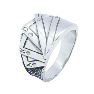 GUNGNEER Stainless Steel Lucky Playing Cards Poker Ring Punk Biker Style Jewelry Accessories