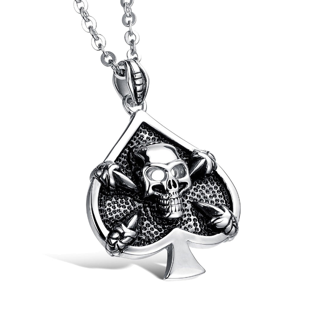 GUNGNEER Stainless Steel Lucky Skull Spade Poker Pendant Necklace Casino Jewelry Men Women