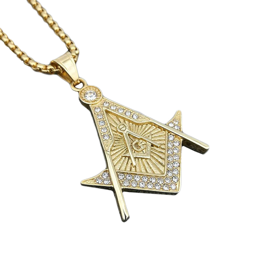 GUNGNEER Freemason Pendant Necklace Stainless Steel Occult Jewelry For Men