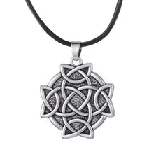 Load image into Gallery viewer, GUNGNEER Celtic Trinity Triquetra Love Knot Round Pendant Necklace Stainless Steel Jewelry