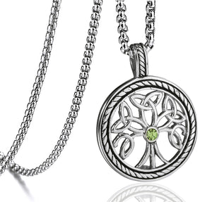 GUNGNEER Stainless Steel Celtic Tree of Life Pendant Necklace Jewelry Box Chain